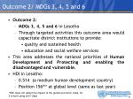outcome 2 mdgs 3 4 5 and 6