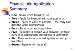 financial aid application summary