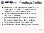 preparation for transition collaboration with sa government