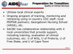 preparation for transition quality of clinical services