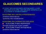 glaucomes secondaires