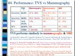 4 performance tvs vs mammography