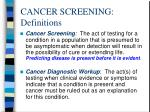 cancer screening definitions