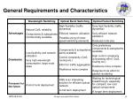 general requirements and characteristics