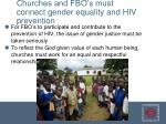 churches and fbo s must connect gender equality and hiv prevention