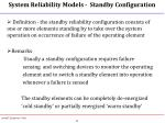system reliability models standby configuration