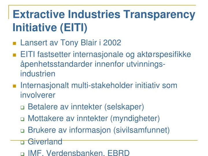 Extractive Industries Transparency Initiative (EITI)