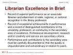 librarian excellence in brief