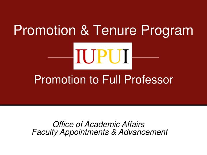 promotion tenure program n.