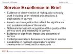 service excellence in brief
