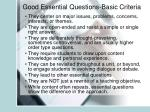 good essential questions basic criteria