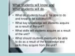 what students will know and what students will do