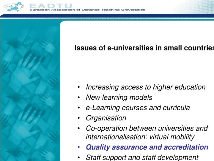 Issues of e universities in small countries