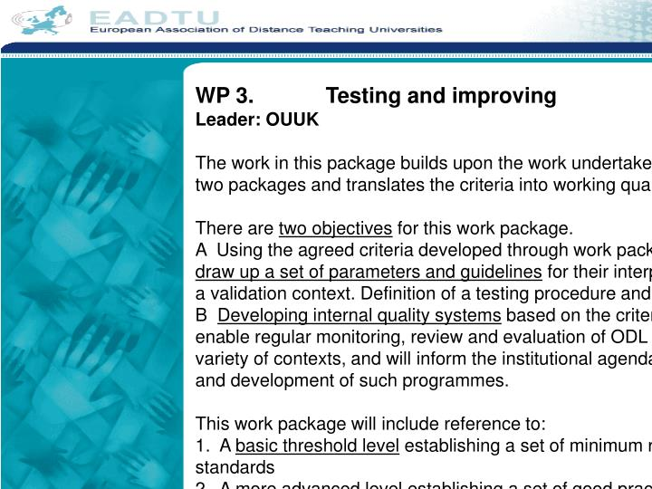 WP 3.		Testing and improving
