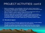 project activities cont d4