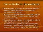 note 4 kritik fra humanisterne