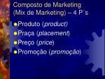 composto de marketing mix de marketing 4 p s