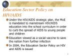education sector policy on hiv aids