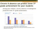 chronic k absence can predict lower 5 th grade achievement for poor students