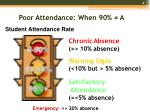 poor attendance when 90 a