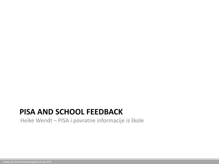 pisa and school feedback n.