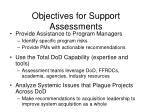 objectives for support assessments