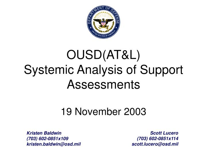 ousd at l systemic analysis of support assessments 19 november 2003 n.