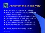 achievements in last year
