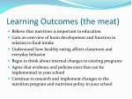 learning outcomes the meat