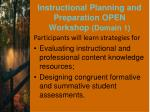 instructional planning and preparation open workshop domain 11
