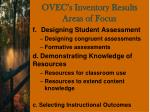 ovec s inventory results areas of focus