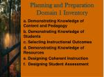 planning and preparation domain 1 inventory