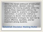 establish decision making rules