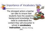 the importance of vocabulary skills