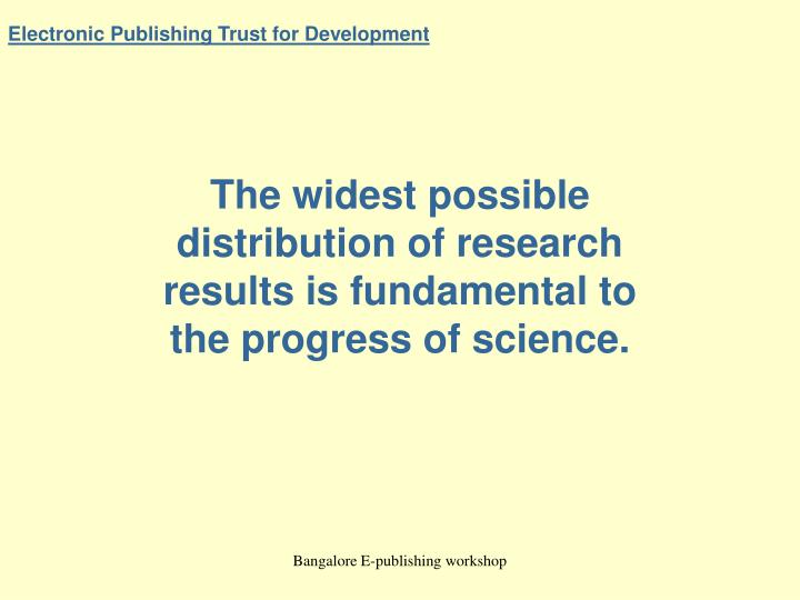 electronic publishing trust for development n.