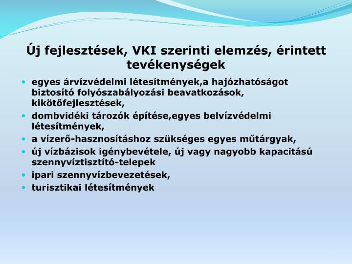 Új fejlesztések, VKI szerinti elemzés, érintett tevékenységek