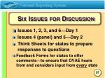 six issues for discussion
