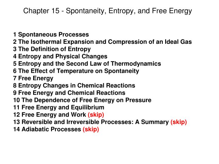 chapter 15 spontaneity entropy and free energy n.