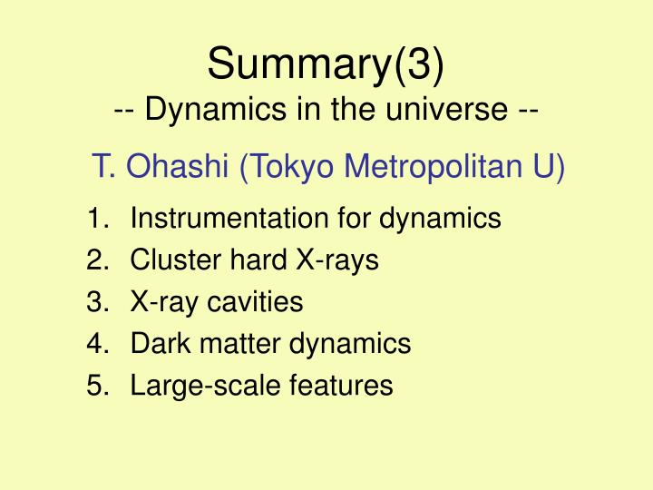 summary 3 dynamics in the universe n.