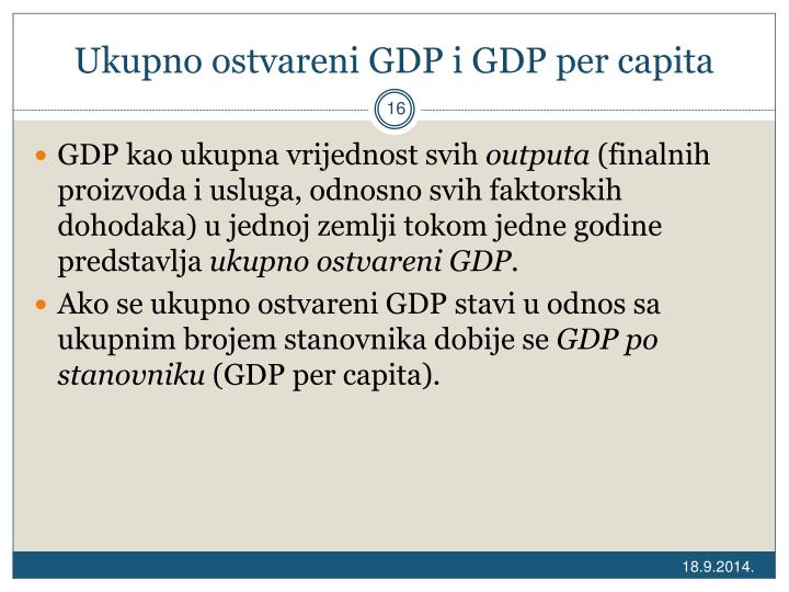 Ukupno ostvareni GDP i GDP per capita
