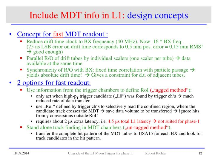 Include MDT info in L1: