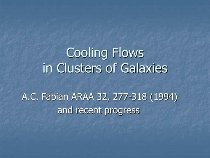 cooling flows in clusters of galaxies n.