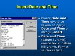 insert date and time