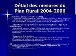 d tail des mesures du plan rural 2004 20061