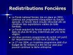 redistributions fonci res