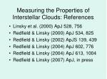 measuring the properties of interstellar clouds references