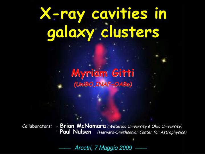 X-ray cavities in galaxy clusters