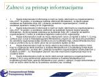 zahtevi za pristup informacijama