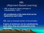 abl alignment based learning