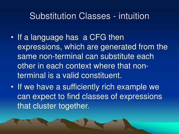Substitution Classes - intuition
